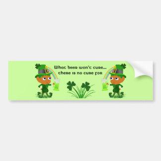 Funny Leprechaun Beer Bumper Sticker