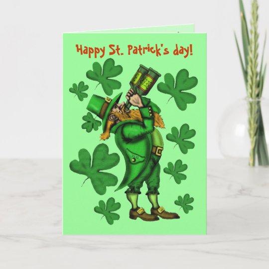 Funny Leprechaun Happy St Patrick S Day Card Zazzle Com