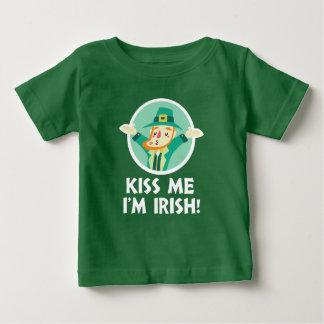 Funny Leprechaun Kiss Me I'm Irish Saint Patrick Baby T-Shirt