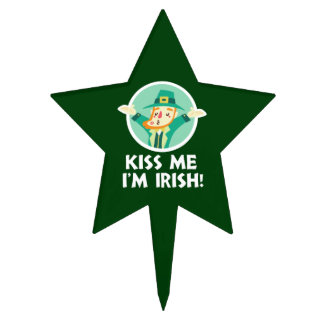 Funny Leprechaun Kiss Me I'm Irish Saint Patrick Cake Topper