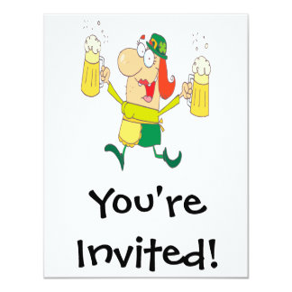 funny leprechaun lady serving beer 4.25x5.5 paper invitation card