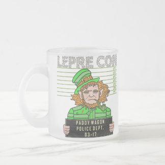 Funny Leprechaun Leprecon Mugshot Frosted Glass Coffee Mug