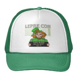 Funny Leprechaun Leprecon Mugshot Trucker Hat