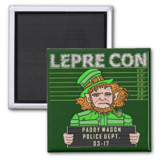 Funny Leprechaun Leprecon Mugshot Magnet