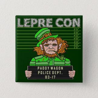 Funny Leprechaun Leprecon Mugshot Pinback Button
