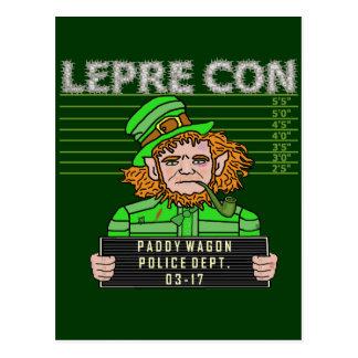 Funny Leprechaun Leprecon Mugshot Postcard