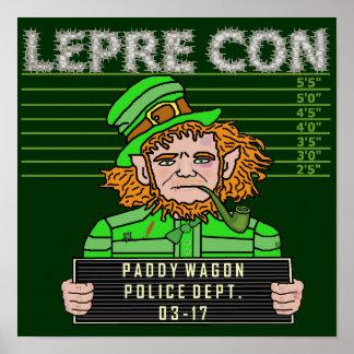 Funny Leprechaun Leprecon Mugshot Poster