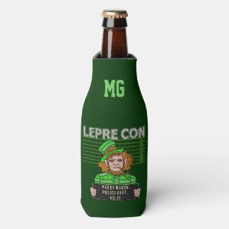 Funny Leprechaun Leprecon Mugshot St Patrick's Day Bottle Cooler