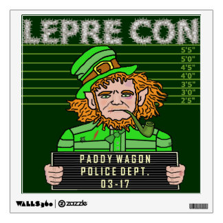 Funny Leprechaun Leprecon Mugshot Wall Skin