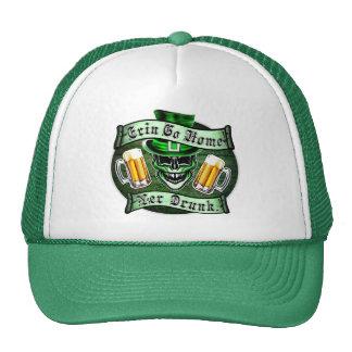 Funny Leprechaun Skull: Erin Go Home Mesh Hats