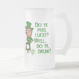 Funny Leprechaun St Patrick's Day Lucky Glass Beer Mugs