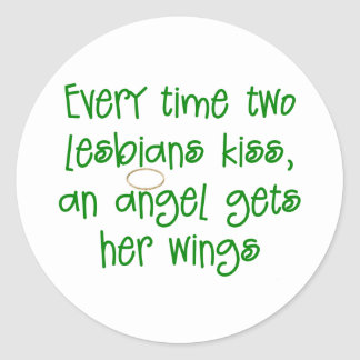 Funny Lesbian Christmas Gift Classic Round Sticker