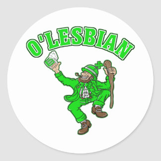 Funny Lesbian St. Patrick's Day Gift Classic Round Sticker