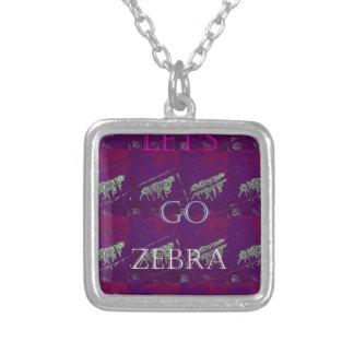 Funny Lets Go Zebra  Hakuna Matata motif Design Co Silver Plated Necklace
