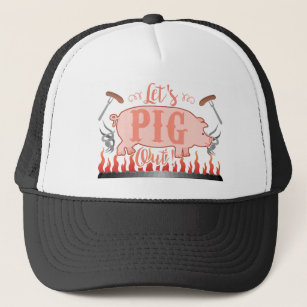 f51cfae526d Funny Let's Pig Out Summer Outdoor BBQ Grill Trucker Hat