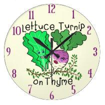 Funny Lettuce Turnip on Thyme Pun School Classroom Large Clock