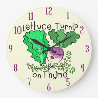 Funny Lettuce Turnip on Thyme Pun School Classroom Large Clock