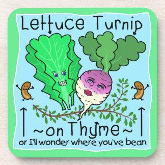 Funny Lettuce Turnip Thyme Vegetable Pun Cartoon Drink Coaster