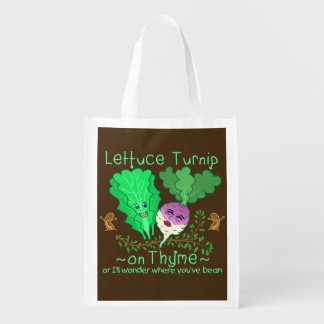 Funny Lettuce Turnip Thyme Vegetable Pun Cartoon Market Tote