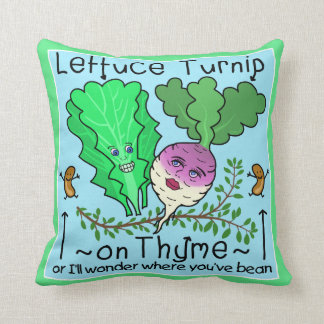 Funny Lettuce Turnip Thyme Vegetable Pun Cartoon Throw Pillow