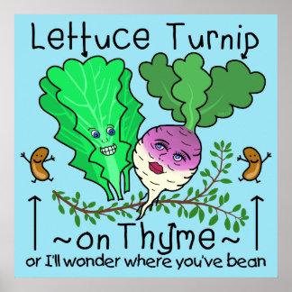 Funny Lettuce Turnip Thyme Vegetable Pun Cartoon Poster
