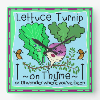 Funny Lettuce Turnip Thyme Vegetable Pun Cartoon Square Wall Clock