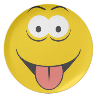 funny licking smiley face plate