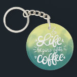 "Funny Life Begins After Coffee Keychain<br><div class=""desc"">For further customization,  please click the &quot;Customize&quot; button and use our design tool to modify this template. If the options are available,  you may change text and image by simply clicking on &quot;Edit/Remove Text or Image Here&quot; and add your own. Designed by Freepik.</div>"