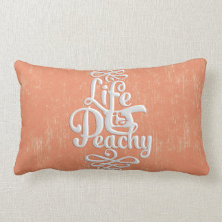 Funny Life Is Peachy Girly Peach And White Desig Lumbar Pillow