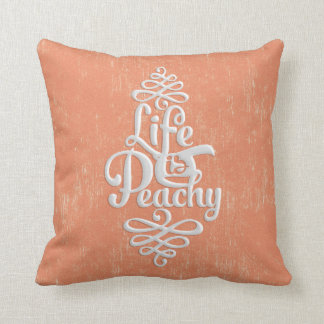 Funny Life Is Peachy Girly Peach And White Desig Throw Pillow
