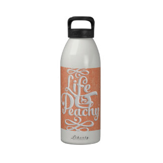 Funny Life Is Peachy Girly Peach And White Desig Drinking Bottle