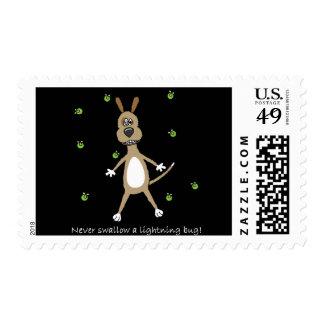 Funny Lightning Bug Dog Postage Stamps