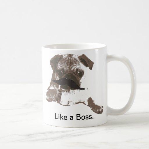 Funny Like a Boss Mustache Pug Mug