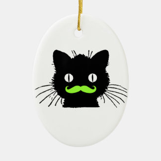 FUNNY LIME GREEN MUSTACHE VINTAGE BLACK CAT CERAMIC ORNAMENT