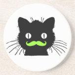 FUNNY LIME GREEN MUSTACHE VINTAGE BLACK CAT BEVERAGE COASTER