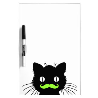 FUNNY LIME GREEN MUSTACHE VINTAGE BLACK CAT Dry-Erase BOARD