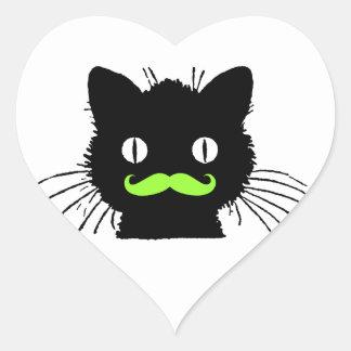 FUNNY LIME GREEN MUSTACHE VINTAGE BLACK CAT HEART STICKER