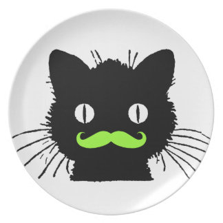 FUNNY LIME GREEN MUSTACHE VINTAGE BLACK CAT MELAMINE PLATE