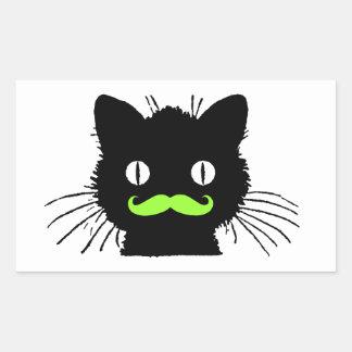 FUNNY LIME GREEN MUSTACHE VINTAGE BLACK CAT RECTANGULAR STICKER