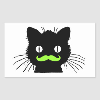 FUNNY LIME GREEN MUSTACHE VINTAGE BLACK CAT STICKERS