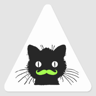 FUNNY LIME GREEN MUSTACHE VINTAGE BLACK CAT TRIANGLE STICKER