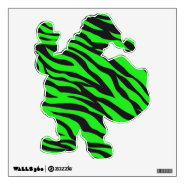 Funny Lime Zebra Stripe Santa Removable Wall Decal