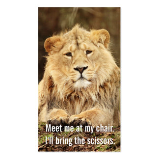 funny lion hairstylist hair stylist cosmetologist business card