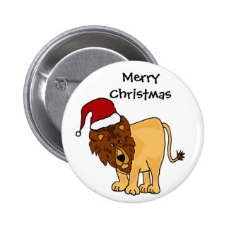 Funny Lion in Santa Hat Christmas Cartoon Button