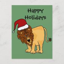 Funny Lion in Santa Hat Christmas Cartoon Holiday Postcard