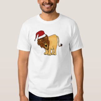Funny Lion in Santa Hat Christmas Cartoon T-Shirt