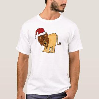 Funny Lion in Santa Hat Christmas Cartoon T-Shirt