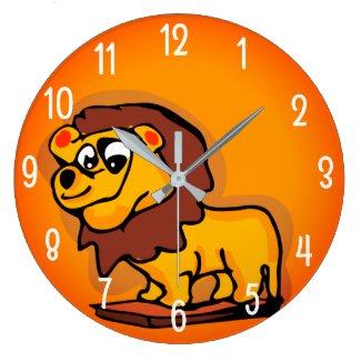Funny Lion Large Clock
