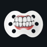 """Funny Lips and Big Adult Teeth Baby Soother<br><div class=""""desc"""">Here&#39;s a cute soother or pacifier for your spunky little baby with personality! Simple black white and red cartoon graphic of a mouth full of large teeth.</div>"""