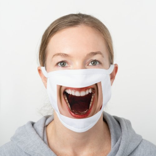 Funny lips smile teeth laughing scream photo white cotton face mask